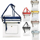Fashion Colorblock Whipstitch Crossbody Bag Messenger Bag Fashion White Purse