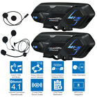 2PCS 2000M Motorcycle Intercom Bluetooth Helmet Motorbike Interphone Headset GPS