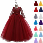 Flower Girl Tulle Tutu Maxi Dress Pageant Princess Wedding Bridesmaid Party Gown
