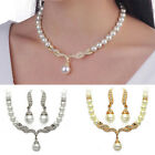 Women Bridal Wedding Crystal Pearl Necklace Rhinestone Earrings Jewelry Set image