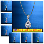 Sparking Oval Gem Sapphire Crystal Women Ladies Pendant Necklace Wedding Jewelry