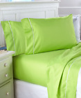 Twin Full Size Queen Sheets Set Bold Colored Lime Green Bedding Microfiber Soft image