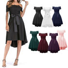 Bridesmaid Wedding Guest Off Shoulder Bowknot High Low Fit and Flare Prom Dress