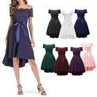 Bridesmaid Off Shoulder High Waist Party Floral Lace High Low Flare Midi Dress