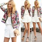 Womens Embroidered Floral Print Short for Coat Top Slim Blazer Jacket Outwear