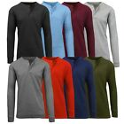 Mens Henley Thermal Shirts Undershirts Tee Long Sleeve Regular Fit Crew Neck NWT image