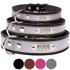 Real Leather Dog Collar Personalized Name Safety Reflective Collars for Dogs