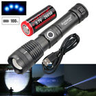 900000 Lumens Zoomable XHP50 5 Modes LED USB Rechargeable 18650 Flashlight Torch