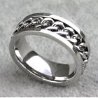 High Quality Men's Spinner Curb Chain Stainless Steel Comfort Fit Ring / Band