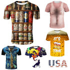 Cool Men's 3D Print Beer pattern Summer Short Sleeve Casual Tee T-Shirts Gifts image