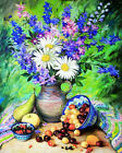 New Oil Painting By Number Kit DIY Floral Handmade Acrylic Paint Art Home Decor
