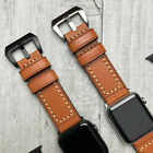 For Apple Watch 5 4 338/40/42/44mm Thick Leather Orange iwatch Strap Wrist Band