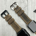 For Apple Watch 5 4 3 2 38/40/42/44mm Rusty Brown Leather Dot iwatch Strap Band