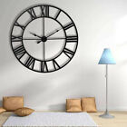 Decorative Wall Clock 3D DIY Vintage Metal Clock Roman Numerals Large Dial 60CM