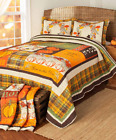 Full Queen King Quilt Set Bedding Autumn Fall Decorations for Home Pumpkins Leav image