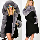 Roiii Womens New Long Thick Fur Collar Hooded Jacket Slim Parka Winter Warm Coat
