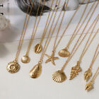 Shell Pendant Necklace Ocean Starfish  Alloy Cowrie Conch  Gold Color Chain