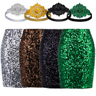 Women's Sequin High Waist Pencil Skirt Stretch Bodycon Midi Skirt Sparkle Party