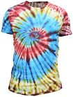 Tie Dye Festival Hippie Cotton T shirt Natural Bright Colorful Top Round Neck <br/> Short Sleeve Vibrant Light Summer Wear
