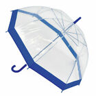 Ladies Umbrella Dome Clear Walking Stick with Matching Handle Colour Trim