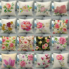 """18"""" Decorative Watercolour Rose Flower Pillow Covers Floral Couch Cushion Case image"""