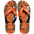 Superdry NEW Men's Printed Cork Flip Flops Tango Black Cork BNWT