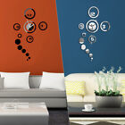 3D Mirror Wall Clock Decal DIY Wall Stickers Wall Modern Home Decor Removable US