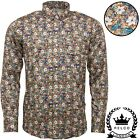 Relco Mens Platinum Multicoloured Floral Print Long Sleeved Button Down Shirt