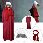 The Handmaid's Tale Cosplay Costume Offred Red Cloak Dress Scarf Full Set w/ hat
