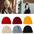 Unisex Ribbed Knitted Cuffed Short Melon Cap Solid Color Slouchy Ski Beanie Hat