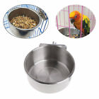Stainless-Steel Pet Hanging Bowl Feeding Cage Cup Cat Bird-Parrot Food Water UK