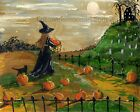 Pumpkin Patch Halloween Black Cat Witch Full Moon Haunted House Wall Art Print