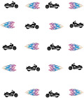 Motorcycle with Flames Waterslide /Water Transfer Nail Decals / Nail Art