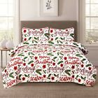 Holiday Quilt Bedding Bed Set Christmas Winter Script, Red and Green image