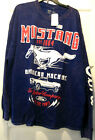 Ford Mustang Distressed Long Sleeve Shirt Faded Blue 100% Cotton