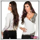 Womens Jumper Wrap Sweater Casual V Neck Leopard Ladies Pullover One Size 8-12