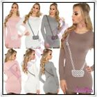 Womens Jumper Sweater Casual Long Pullover Ladies Jumper Dress One Size 6-12 UK