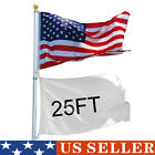 20/25/30 Ft American Flag With Aluminum Telescoping Flag Pole Gold Ball Finial