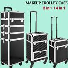 Large 4 In 1 Suitcase Pro Make Up Case Rolling Trolley Salon Storage With Wheels