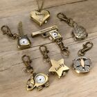 Mini Vintage Bronze Tone Key Ring Pocket Quartz Pendant Kids Unisex Watch Gifts image