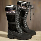 Womens Winter Snow Fur Lined Warm Boots Ladies Lace Up Flat Heel Mid Calf Shoes