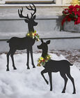Outdoor Lighted Holiday BUCK & DOE Deer Silhouette Stakes Holly Garland Accent
