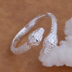 New Uk 925 Silver Snake Double Headed Adjustable Ring