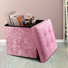 Crushed Velvet Ottoman Foot Stool Storage Box Furniture Seat Rest Cube Foldable