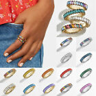 Rainbow Crystal Ring Women Cubic Zirconia Eternity Stack Rings Baguette Band