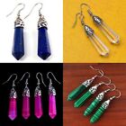 Nice Gemstone Hexagonal Point Reiki Chakra Healing Bead Silver Plate Earring New