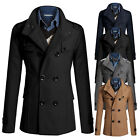 USA Men Trench Coat Double Breasted Outwear Jacket Formal Suit Overcoat Peacoat
