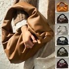 Ruched Soft Real Leather Shoulder Pouch Tote Bag Clutch Purse Hobo Baguette Gift