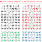 """Внешний вид - Number 1-63 & 64-126 Sequentially Numbered Stickers 1"""" Round Circle Labels Color"""