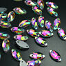 Navette 7x15mm Sew On Rhinestones Flatback Crystal AB Glass Marquise Strass 15ps